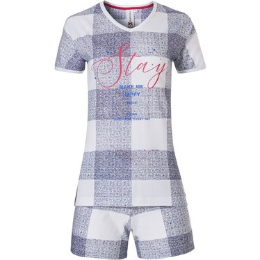 Rebelle 'Stay' short sleeve trendy 'chunky check' pastel checked cotton shorty set