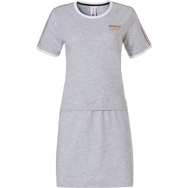 Rebelle 'Good as Gold' light grey sporty ladies short sleeve nightdress with trendy gold side stripe
