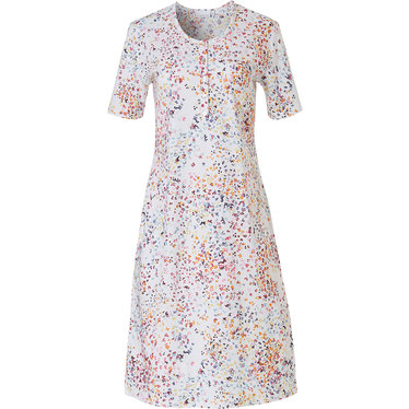 Pastunette 'little butterfly flowers' short sleeve white & pretty Summer colours, cotton ladies nightdress with 5 buttons and chest pocket