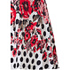 Pastunette Beach 'fashion & flowers' light red, blue & white ladies open shoulder with straps beach dress with a summery flowers pattern & trendy circles