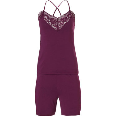 Pastunette Deluxe 'beauty in lace' rich bordeaux red luxury short set with beautiful lace around the flattering, sensual 'sweetheart look' neckline and adjustable 'cross style' straps