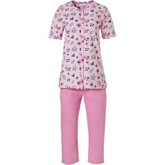 Pastunette ladies, short sleeve full button, organic cotton 3/4 pyjama set  'butterfly flowers'