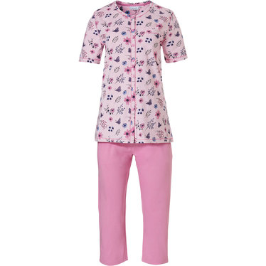 Pastunette 'butterfly flowers', short sleeve light pretty pink, full button organic cotton floral Summer pyjama set wth pink 3/4 pants