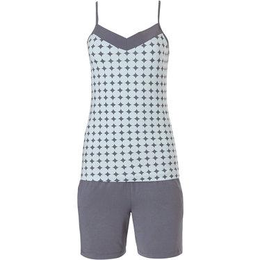 Pastunette Deluxe dames homewear-shorty set met spaghetti top 'symmetrical elegant diamonds & 60's circles'