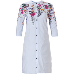 Pastunette ladies 3/4 sleeve full button cotton nightdress 'pretty garden flowers & stripes'
