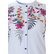 Pastunette 'pretty garden flowers & stripes' 3/4 sleeve pure white & blue hoizontal stripes, full button cotton nightdress with pretty garden flowers floral detaling top and shoulders