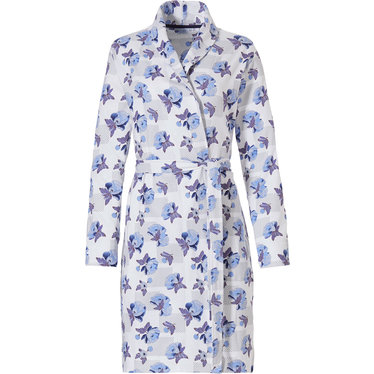 Pastunette 'little blue blossom' white & light  blue, wrap-over ladies cotton morninggown with shawlcollar and belt