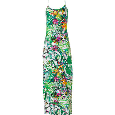Pastunette Beach lost in paradise' off white & green Premium Collection long beach dress with adustable straps