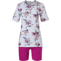 Pastunette short sleeve cotton shorty set with buttons 'pretty garden flowers & stripes'