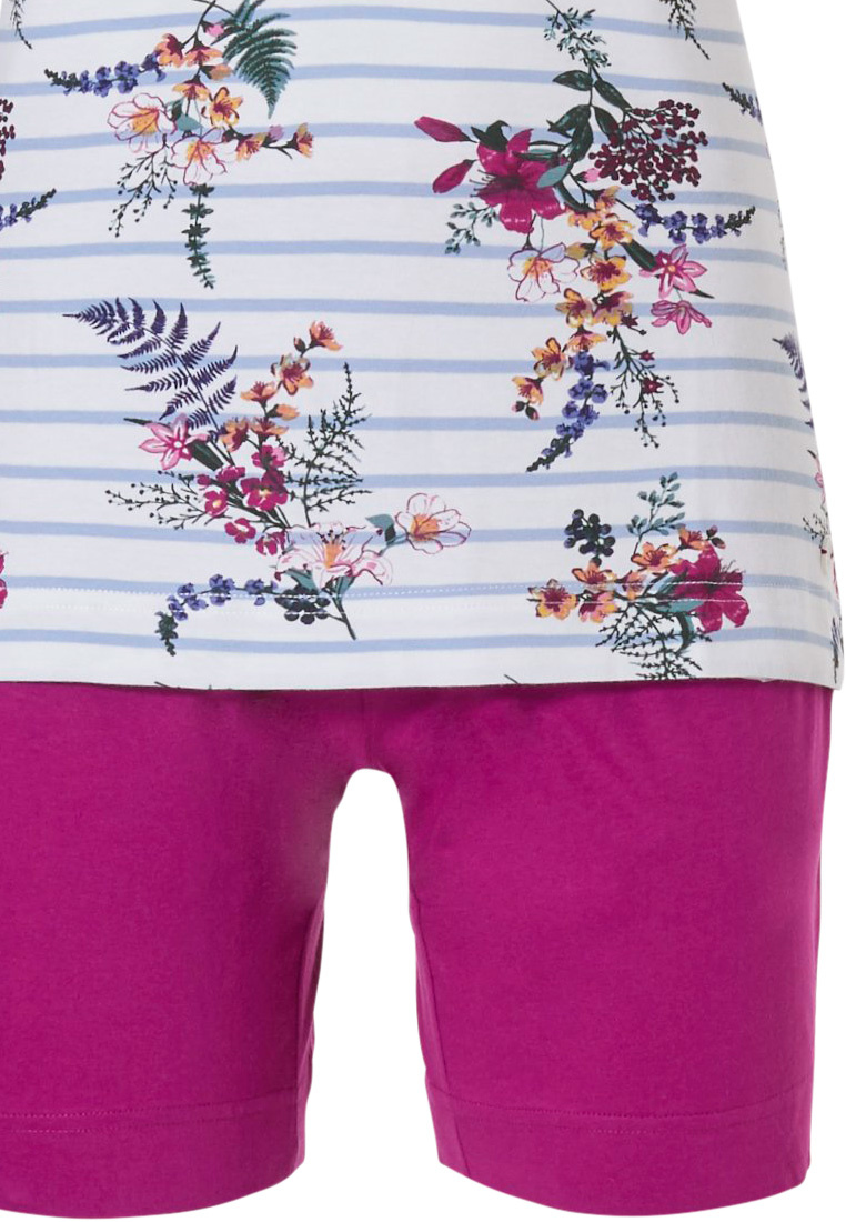 Pastunette 'pretty garden flowers & stripes' pure white & blue hoizontal stripes, short sleeve cotton shorty set with all over floral pattern of  'pretty garden flowers', blue  stripes with 5 pink buttons and fucshia pink shorts