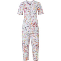 Pastunette short sleeve full button cotton ladies 3/4 pyjama 'little butterfly flowers'