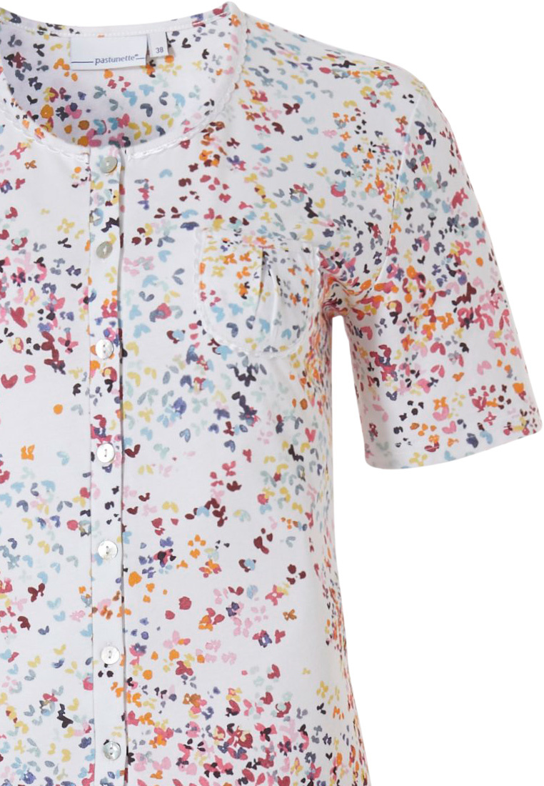 Pastunette 'little butterfly flowers' short sleeve white & pretty Summer colours, full button ladies cotton pyjama with chest pocket and matching 3/4 pants