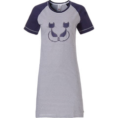 Rebelle short sleeve cotton nightdress 'Purrrfectly in love pussycats'