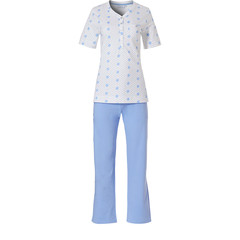 Pastunette short sleeve organic cotton pyjama set with long pants with buttons 'pretty fine dots & circles'