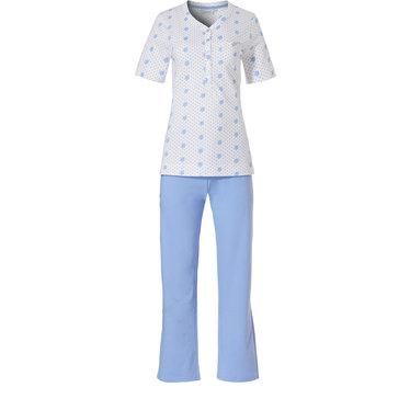 Pastunette lichtblauwe dames pyjama van organisch katoen met korte mouwen, knoopjes en lange broek 'pretty fine dots & circles'