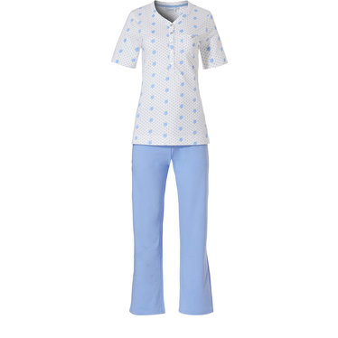 Pastunette 'pretty fine dots & circles' pure white & light blue organic cotton short sleeve pyjama set with 5 buttons and chest pocket with long light blue pants
