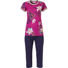 Pastunette ladies short sleeve cotton 3/4 pyjama set 'orchid flower garden'
