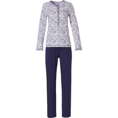 Pastunette ladies long sleeve cotton classic pyjama with buttons 'floral delight'