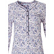 Pastunette 'floral delight long sleeve white & light purple cotton pyjama with 5 buttons, chest pocket and long pants