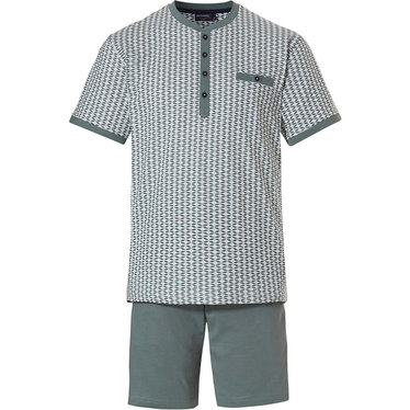 Pastunette for Men 'City Life, broken diamond' white & sage green mens shorty set with 4 buttons, chest pocket and green cotton shorts with an elasticated waist