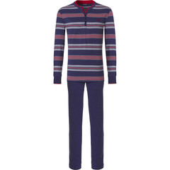 Pastunette for Men long sleeve mens pyjama with buttons 'Ocean Life, marine stripes'