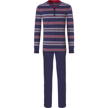 Pastunette for Men 'Ocean Life, marine stripes', deep marine blue & red striped mens pyjama set with a 'cool little red shark' embroidered on the long sleeved striped top with buttons and long blue cotton pants