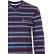 Robson 'sporty fine stripes' dark blue long sleeve men's cotton pyjama set with red, white & blue stripes, chest pocket and long dark blue cotton pants with cuffs