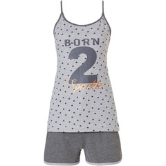 Rebelle dames shorty set met spahetti top 'BORN 2 Sparkle'
