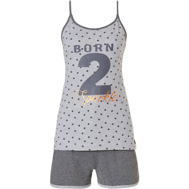 Rebelle 'BORN 2 Sparkle'  light grey spaghetti strap pyjama top with allover dottiness & cool stripes and grey shorts - You 2 can Sparkle 2 sleep' with Rebelle!