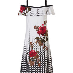 Pastunette Beach open shoulder beach dress with straps 'ring of roses'