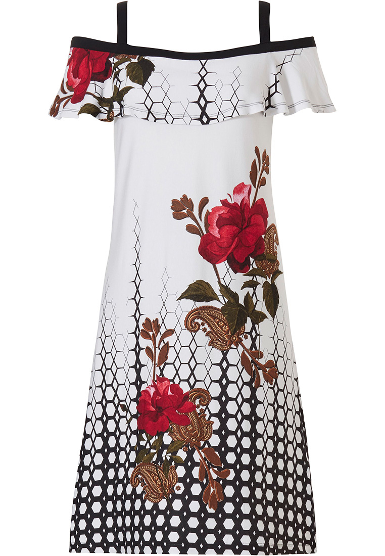 Pastunette Beach 'ring of roses' white & black open shoulder beach dress with straps and a beautiful pattern of open red roses on it