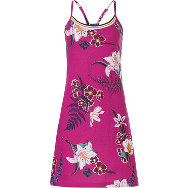 Pastunette 'orchid flower garden' dark fuchsia pink, floral cotton ladies spaghetti dress with adjustable straps and pretty back detailing