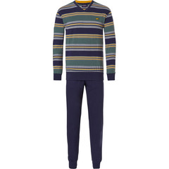 Pastunette for Men katoenen heren pyjama met lange mouwen 'City Life stripes, cool little yellow shark'