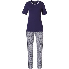 Pastunette Deluxe ladies short sleeve pyjama set with long pants 'little crescents & bold stipe'