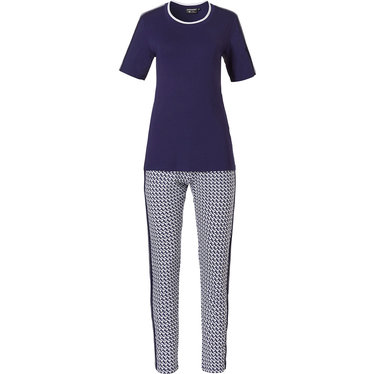 Pastunette Deluxe 'little crescents & bold stripe' rich dark blue & white short sleeve ladies pyjama night-homeset with rich blue short sleeve top and long patterned pants
