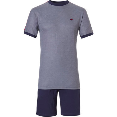 Pastunette for Men 'Ocean Life, cool little red shark' misty blue mens shorty set with a 'cool little red shark' embroidered on the short sleeve top and and blue elasticated cotton shorts