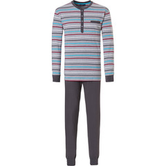 Pastunette for Men mens long sleeve pyjama with buttons 'Ocean Life, sea stripes'