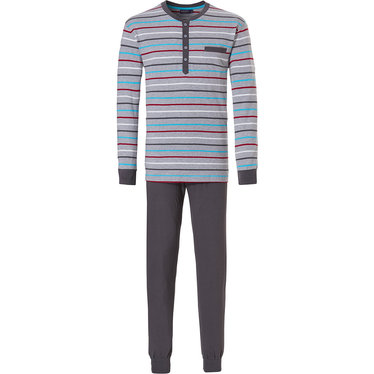 Pastunette for Men 'Ocean Life, sea stripes' light grey mens long sleeve pyjama set with red, grey, white & sea blue horizontal stripes, 4 buttons and grey long cotton cuffed pants