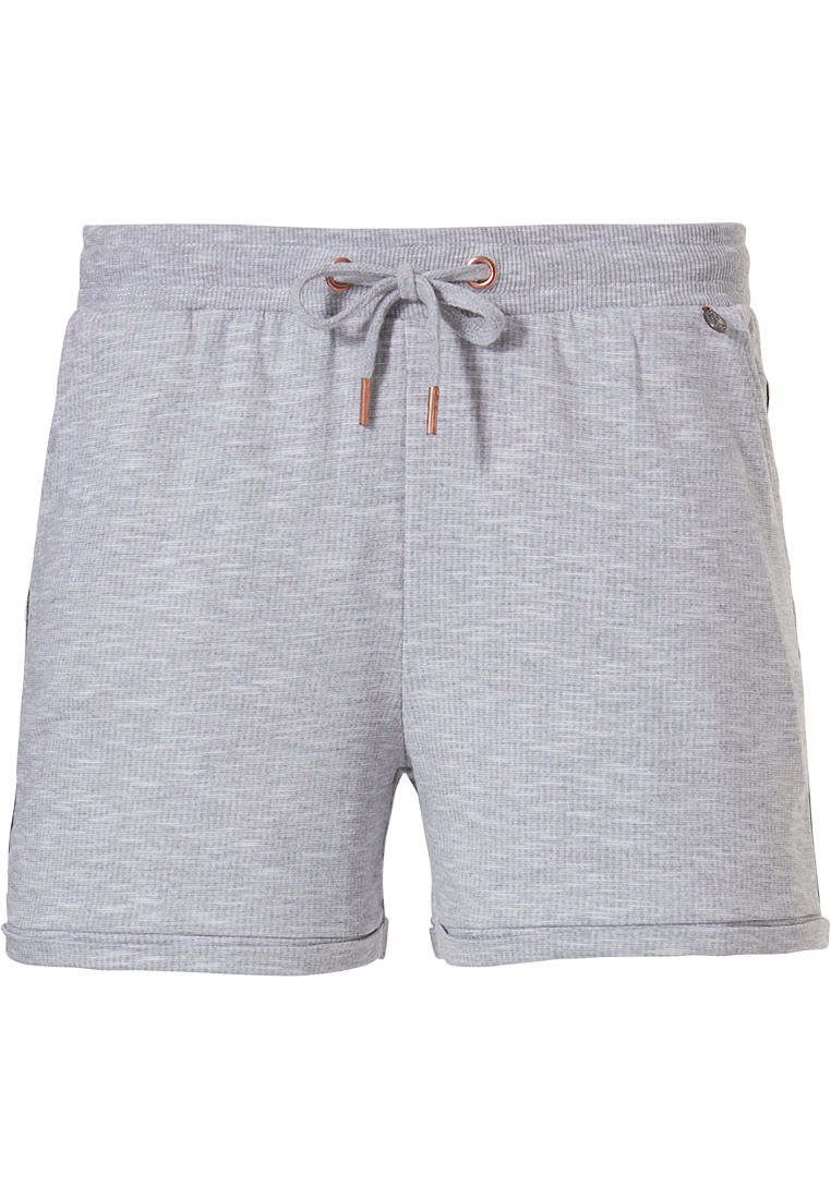 Rebelle 'Good as Gold' light grey Mix & Match sporty ladies shorts with tie waist, front pockets and trendy gold side stripe