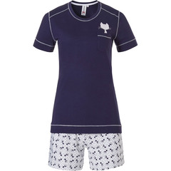 Rebelle short sleeve cotton shorty set 'Purrrfectly in love pussycats'