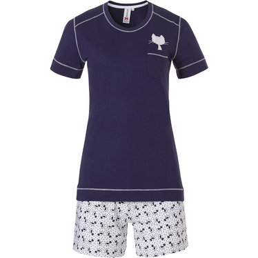 Rebelle 'Purrrfectly in love pussycats' dark blue & white short raglan-sleeve, cotton shorty set with a pretty diamante detail pussycat and dotty pussycat shorts with an elasticated tie-waist