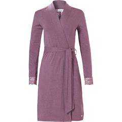 Pastunette ladies wrap-over morninggown with belt 'lace detail'