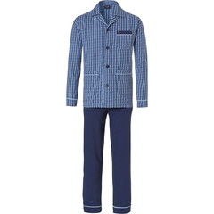 Robson men's long sleeve full button cotton pyjama set 'diamond zig zag lines'