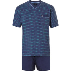Robson men's cotton shorty set 'diamond zig zag lines'