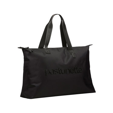 Pastunette Beach Pastunette Beach over-the-shoulder black beach bag with zip closure and 'pastunette' looks pretty in sparkling black sequins across the middle