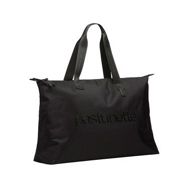 Pastunette Beach zwarte strandtas met rits en sprankelende pailletjes tekst 'Pastunette'