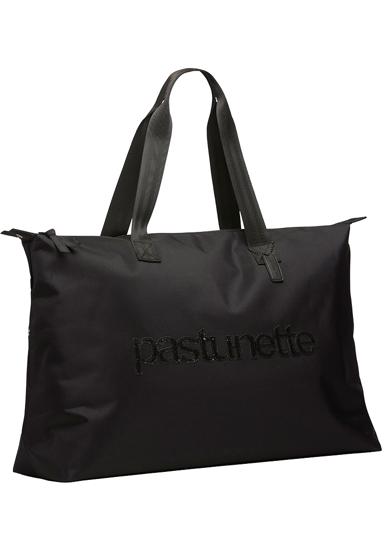 Pastunette Beach over-the-shoulder black beach bag with zip closure and 'pastunette' looks pretty in sparkling black sequins across the middle