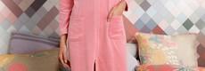 Pastunette Deluxe rose pink velvet morning gown with full zip