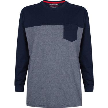 Pastunette for Men grijs/blauw fijn gestreepte katoenen pyjama top voor heren met lange mouwen met boord