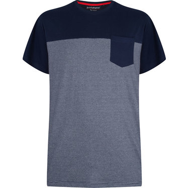 Pastunette for Men grijs/blauw fijn gestreepte katoenen pyjama top voor heren met korte mouwen